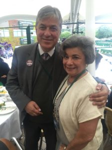 Peter McQuibban President of the World IC with Batsheva Mandel our representative to the AGM 2016 at the Lunch in the Members Enclosure AELTC.
